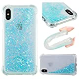 Liquid Case for iPhone X,Floating Case for iPhone X,Leecase Luxury Beauty Bling Shiny Sparkle Glitter Cover Blue Pentagram Quicksand Flowing Creative Design Crystal Transparent Clear Plastic Soft TPU Protective Shock Proof Shell Case Cover Bumper for iPhone X + 1 x Free Black Stylus