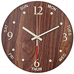 BEW Luminous Wall Clocks, Days of Week Clocks with Silent Quartz Movement, Vintage Wooden Decorative for Living Room, Dining Room, Bedroom, Office