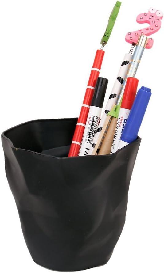 ACAMPTAR Pot de Porte-crayons Plastique noir de bureau