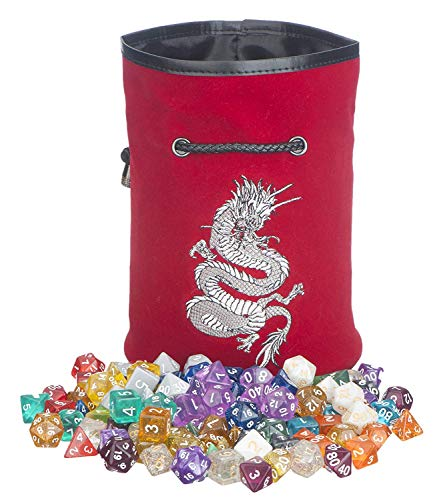 Rogues & Knaves Dice Bag with Platinum Dragon (Red).