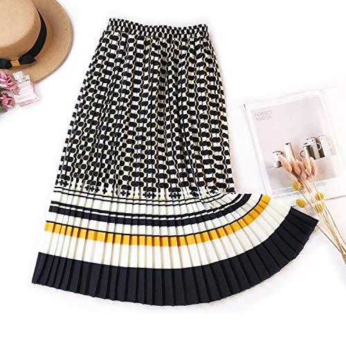 Wild Little Cat Women's Print Skirt Long Pleated Ball Gowns A-Line High Waist Bottoms Empire High Street Casual,Yellow,One -