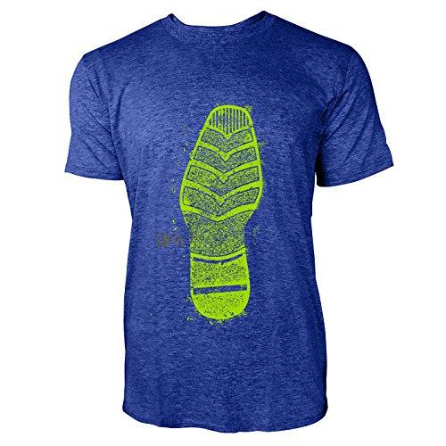 SINUS ART® Print mit verschiedenen Schuhabdrücken Herren T-Shirts in Vintage Blau Cooles Fun Shirt mit tollen Aufdruck