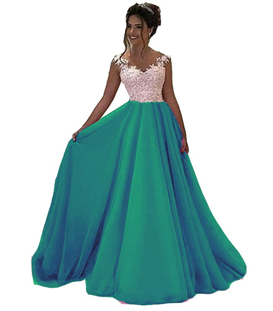 Dark Green Honeydress Women's VNeck Long Sleeveless Lace Ball Gown Satin Gown for Formal Occasion