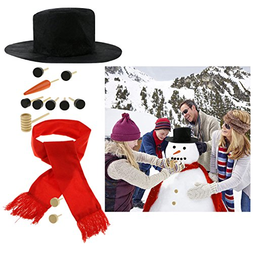 Fixget 13 Pcs Snowman Decorating Kit, Snowman Making Kit Snowman Dressing Kit Winter Outdoor Fun Toys Decoration for Kids, Including Top Hat, Scarf, Pipe, Eyes, Carrot Nose & Button -