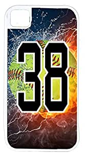 Flaming Softball Sports Fan Player Number 38 White Rubber Hybrid Tough Case Decorative iphone 5s Case