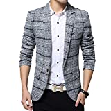 SITENG Men's Tweed Plaid Blazer Jacket Casual Business Long Sleeve One...