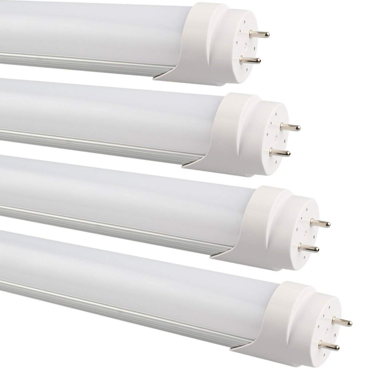 B2ocled 2FT T8 LED Tube Light 9 Watt 6500K Dual End Powered Cool White Glow Frosted Cover G13 Fluorescent Light Bulbs Replacement 4 Pack