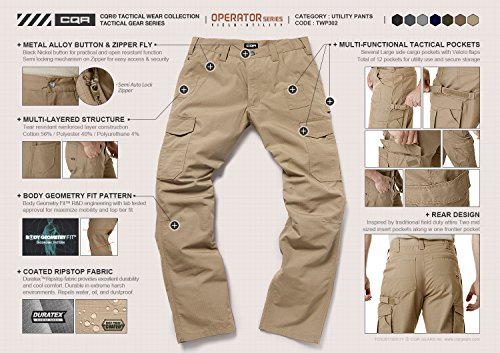 CQR CQ-TWP302-CYT_32W/30L Men's Rip-Stop Tactical Work Utility Operator Pants EDC TWP302 by CQR (Image #6)