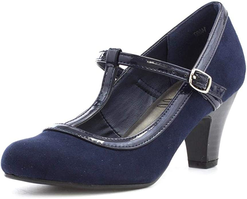 1940s Style Shoes, 40s Shoes Lilley Womens Navy Heeled T-Bar Court Shoe £14.99 AT vintagedancer.com