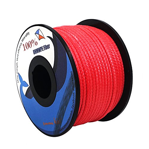 emma kites Red UHMWPE Braided Cord High Strength Least Stretch Tent Tarp Rain Fly Guyline Hammock Ridgeline Suspension for Camping Hiking Backpacking Survival Recreational Marine Outdoors 100Ft 580Lb by emma kites (Image #5)