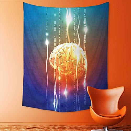 aolankaili Elastic Fabric Tapestry,Stream of Binary Digits Leaking from Abstract Brain Mental Creativity Theme Print Multi Home -