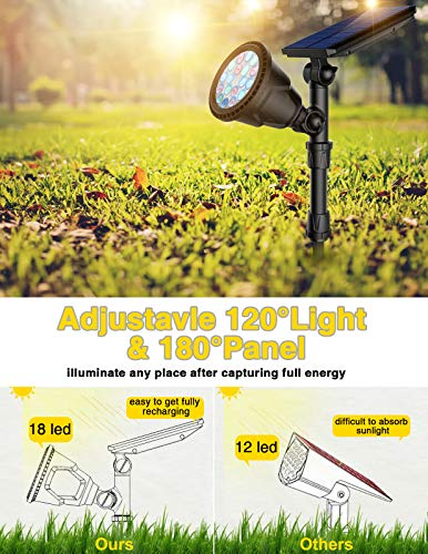 ROSHWEY Solar Spot Lights Outdoor, 7 Adjustable Colors Solar Landscape Lights 18 LED Solar Spotlight Waterproof Solar Lights Outdoor Decorative for Yard Pathway Walkway Patio & Lawn - 2 Pack