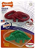Nylabone Holiday Dura Chew Medium Green and Red Dental Dinosaur Dog Chew Toy, 2 Pack