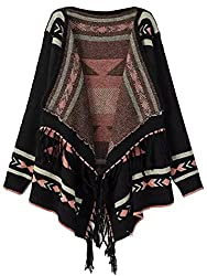 SheIn Women's Black Long Sleeve Geometric Print Tassel Cardigan (one size, Color Black)