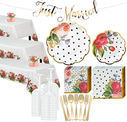 (Party City Pop Blush Rose Tableware Supplies for 50 Guests, Include Plates, Napkins, Glasses, Utensils, and Decorations)