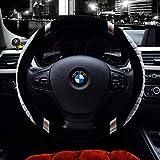 Valleycomfy Microfiber Steering Wheel Covers Universal 15 inch (601-Gray)