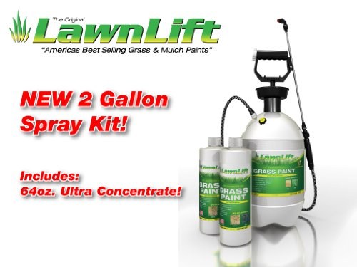 LawnLift Grass Painting Kit- Includes Professional 2 Gallon Sprayer & 64oz. (Gren) Ultra Concentrated Grass Paint Bottle = up to 5 Gallons Usable Product & Coversup to 2000 Sq Ft.Coverage Depends (Best Solution For Pigmentation)