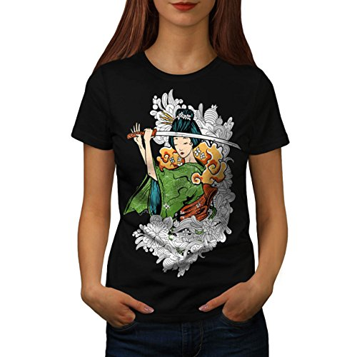 Spooky Empire Costume (Geisha Japan Lady Katana Sword Women L T-shirt | Wellcoda)