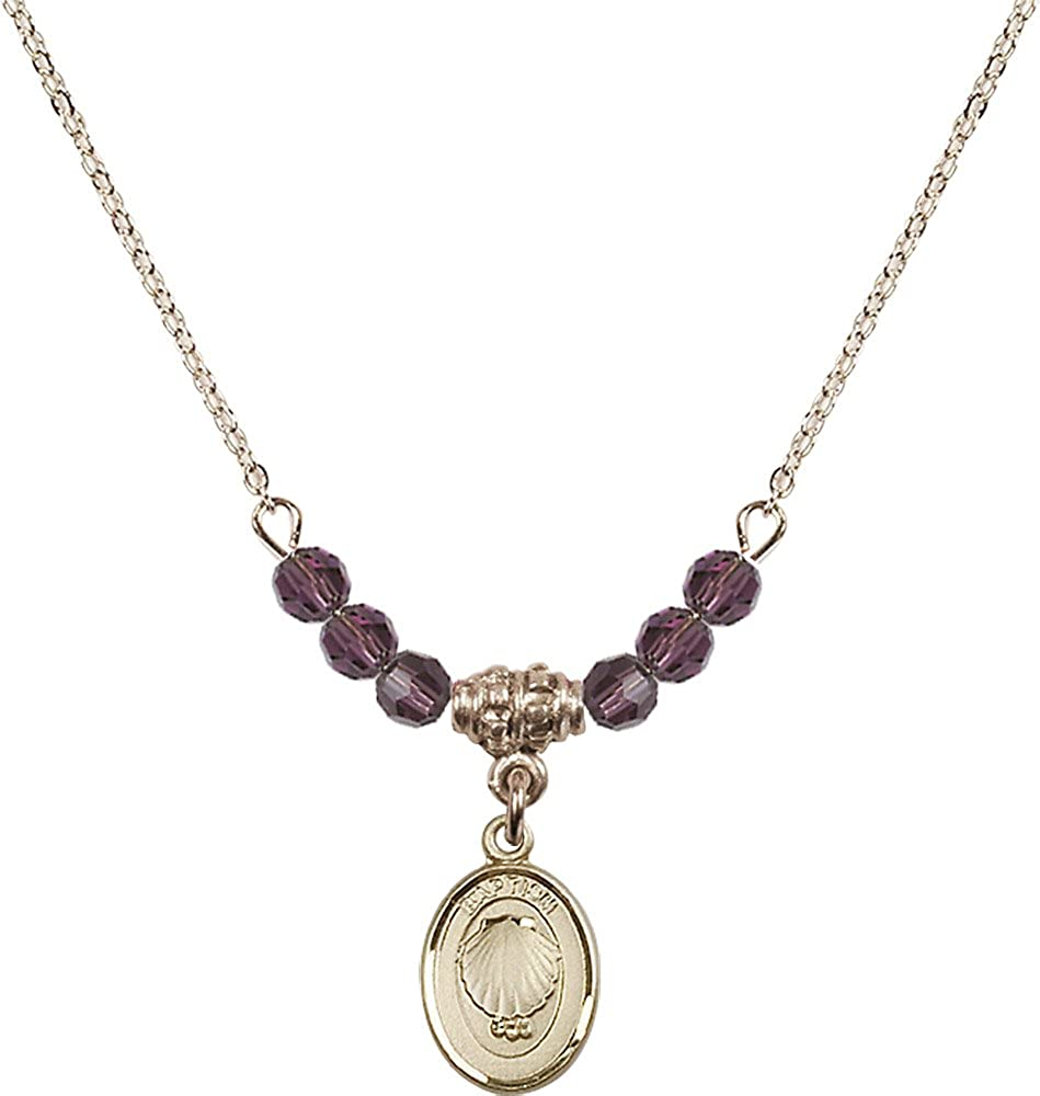 18-Inch Hamilton Gold Plated Necklace with 4mm Amethyst Birthstone Beads and Gold Filled Baptism Charm.