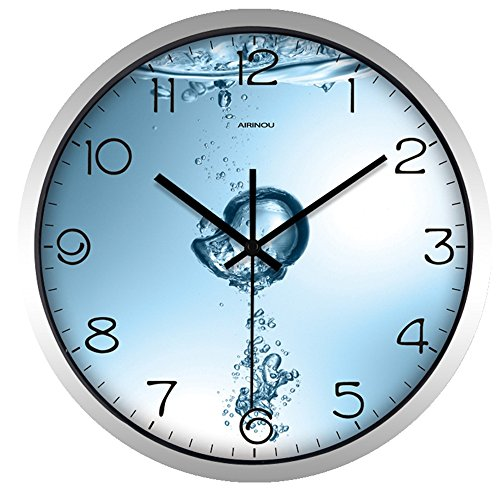 on-ticking Wall Clock for Bathroom Restroom Save water Metal Frame Not Plastic(10inch, Silver) ()