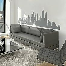 New York City Skyline Wall Decal Vinyl Ctiy Wall Sticekrl New York Wall Art Decor Wall Graphic Home Wall Decoration£¨Medium,Slate Gray)
