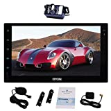 Free External Microphone + 7 Inch Android 6.0 Double Din Car Stereo GPS Navigation Head Unit Radio Audio Support 1080P Video Quad Core Wi-Fi Bluetooth AM/FM SW-Control Screen Mirroring + Backup Camera