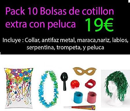 Pack 10 bolsas cotillon extra con peluca: Amazon.es: Juguetes y juegos