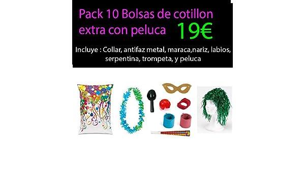 Pack 10 bolsas cotillon extra con peluca: Amazon.es ...