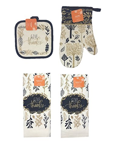 Harvest Pot Holder (Thanksgiving and Fall Themed Kitchen Towels, Oven Mitt, and Potholder 4 Piece Bundle Set (Give Thanks))