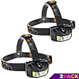 LED Headlamp,Super Rugged, Light-Weight and Bright LED Headlight, Red and White 4 Mode Light with Adjustable and Comfortable Headband, Dust and Waterproof (2 pack)