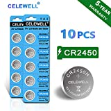 【5-Year Warranty】CELEWELL 10pcs CR2450 Battery 630mAh CR2450H High Capacity 3V Lithium Battery (Not CR2450N) Special for Flameless Candles Window Sensors
