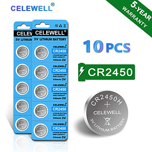 【5-Year Warranty】 CELEWELL 10pcs CR2450 Battery 630mAh CR2450H High Capacity 3V Lithium Battery (Not CR2450N) Special for Flameless Candles Window Sensors