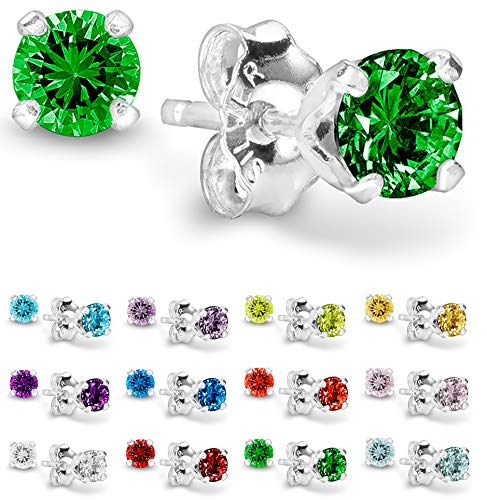 Earring Birthstone Stone - Birthstone Stud Earrings 4 mm - 925 Sterling Silver with Cubic Zirconia Crystal - May (Emerald)