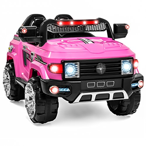 (Best Choice Products 12V Kids Battery Powered RC Remote Control Truck SUV Ride-On Car w/ 2 Speeds, LED Lights, MP3, AUX Cord - Pink)