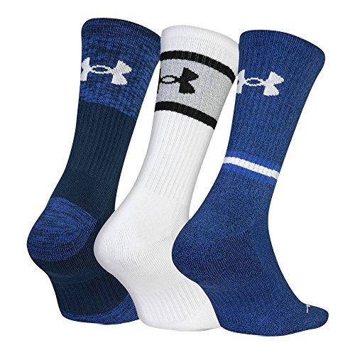 Under Armour Men's Phenom Twist 2.0 Crew Socks (3 Pack), Academy Blue/Assorted, Large