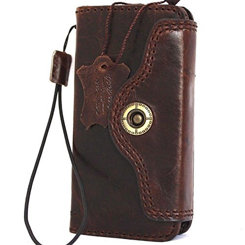 Genuine Vintage Real Leather Case for Iphone SE Book Wallet closure Cover slim Handmade Retro Pro 5s 5c brown DavisCase