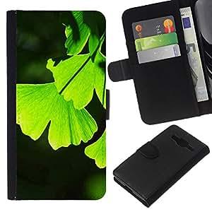 EJOY---La carpeta del tirón la caja de cuero de alta calidad de la PU Caso protector / Samsung Galaxy Core Prime / --Hojas Naturaleza Jungle Color vibrante