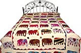 Bedcover from Jodhpur with Applique Elephants and Kantha Stitch Embroidery - Pure Cotton - Color Linen White Color