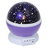 Night Light Projector, CEStore 3 Modes 4 LED Beads Rotating Romantic Lamp Relaxing Mood Light Ceiling Projector, Sky Moon Star Lighting Lamp for Baby Nursery Bedroom Children Kids Room-Purple