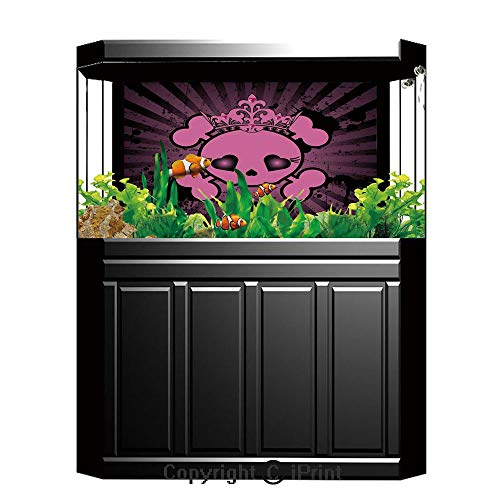 Aquarium Decoration Background,Skull,Cute Skull Illustration with Crown Dark Grunge Style Teen Spooky Halloween Print Decorative,Pink Black,Photography Backdrop for Photo Props -