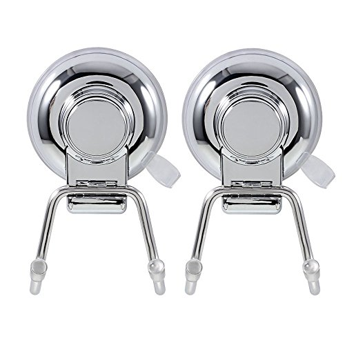 IPEGTOP Stainless Steel Super Powerful Vacuum Suction Cup Hooks Holder Towel Robe Hook Hanger for Bathroom Kitchen Organizer, 2 sets