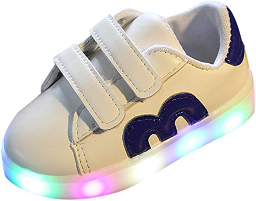 Chaussure Eté LED WINJIN Sneakers Baskets Mesh Respirant LED Sport Lumineux Chaussures de Sport Blanc 0 à 18 Mois Toddler Infant Kids Bébé Filles