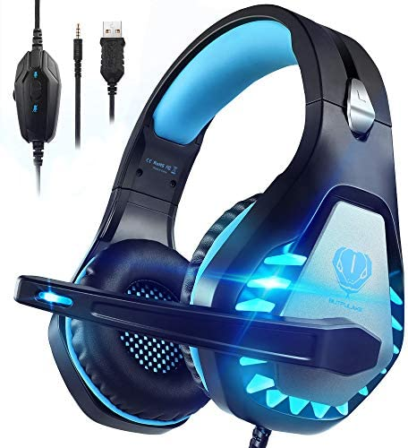 Pacrate Stereo Gaming Headset for PS4, Xbox One, Mac, Laptop PC Headset with Noise Cancelling Microphone 3.5mm Gaming Headphones with LED Lights for Kids Adults (Blue)