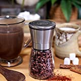 Updated Salt and Pepper Shakers | Gourmet Salt and Pepper Grinder Set | w/ Brushed Stainless Steel & Glass | Pure Ceramic Burrs | Pepper Grinder | Salt Grinder | Spice Grinder | Free eBook