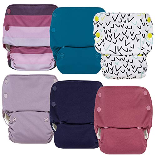 GroVia Reusable All in One Snap Baby Cloth Diaper (AIO) - 6 Pack (Color Mix 7)