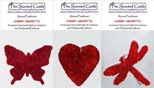 3Pack Cherry Amaretto Scented Air Fresheners in Butterfly, Heart, Dragonfly by The Scented Castle