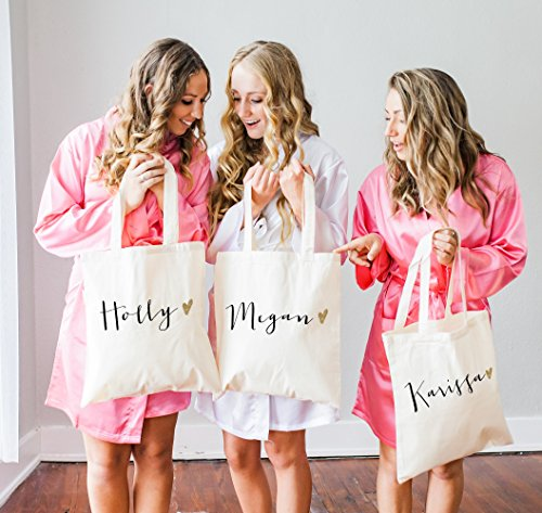 Personalized Glam Wedding Tote Bags for Bridal Party, Bridesmaid Bags Gifts for Bridesmaids and Maid of Honor Wedding Totes]()