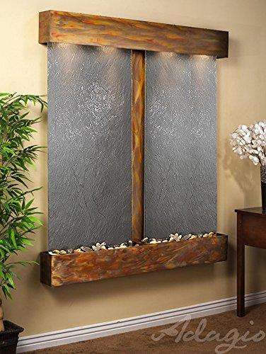 Adagio Cottonwood Falls Wall Fountain Black FeatherStone Slate Rustic Copper - CFS1011