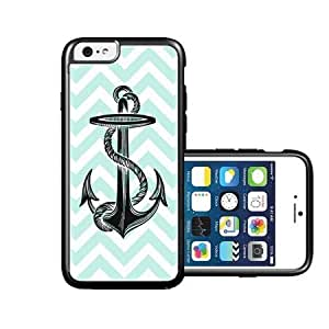 RCGrafix Brand Anchor On Mint Stripes iPhone 6 Case - Fits NEW Apple iPhone 6