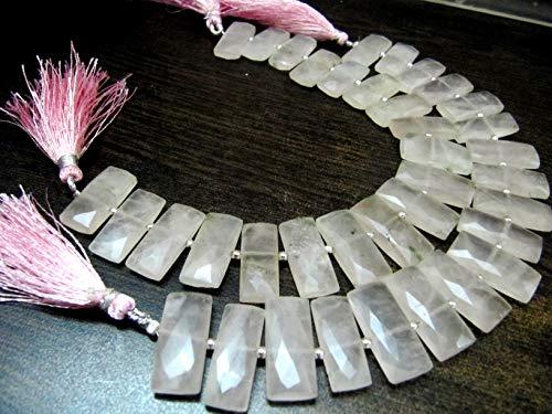 Natural Rose Quartz Baguette Shape 9x21mm Approximately briolette Long Beads, Pink Color Rectangle Jewelry Making - Quartz Baguette